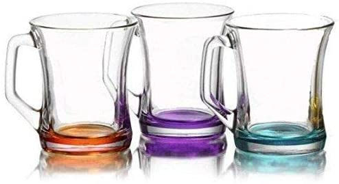 Hot Drink Mugs/Coloured Base Tea Coffee Latte Cappuccino Glasses/Glass Drink Cups /(225 cc / 7.5 oz)
