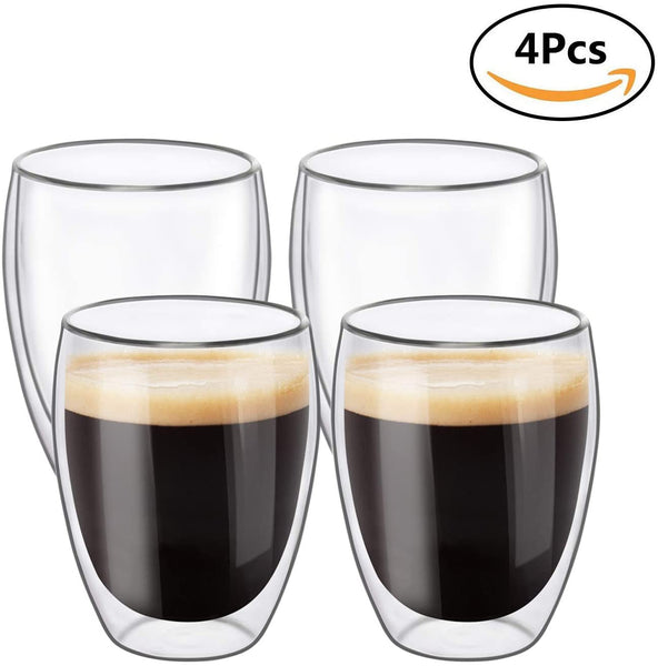 Double Walled Thermo Glasses, Double Walled Glass Mugs, Double Wall Glass Coffee Mug, Glass Coffee Cups 350ml