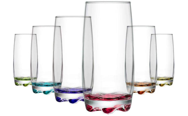 Glasses Colour Highball Clear Glasses, Drinking Glass Drinking/Pint Glasses Set of 6, Contemporary Multi Coloured Glass, Juice Large Water Glass - 390 ML