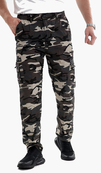 Men Elasticated Waist Cargo Combat Trousers Jogger Work Camo Track Pants