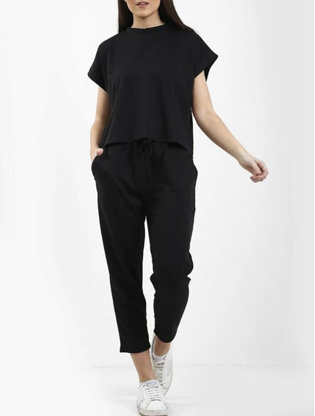 Womens Boxy Lounge Wear Tracksuit Short Sleeve, Round Neck