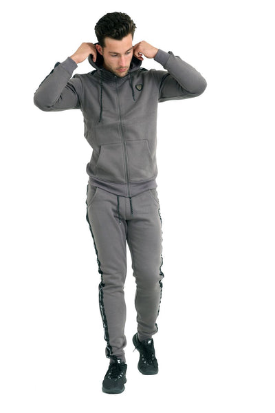 Designers Men Fleece Tracksuit, Slim Bottom With Zipped Up hoodie