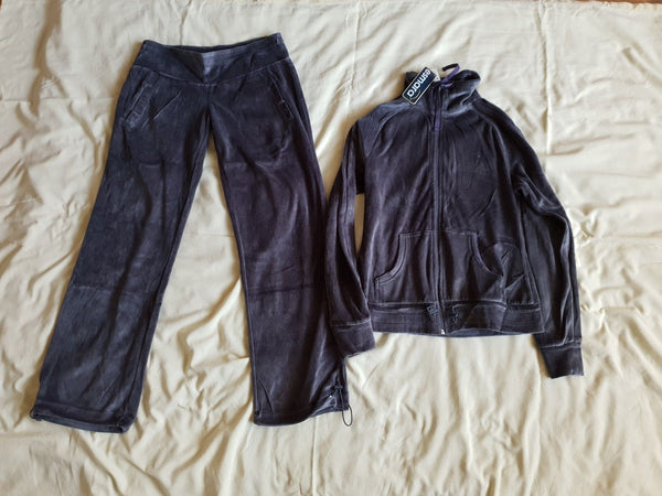Womens ladies Grey Velour drawstring Tracksuit Yoga Sport Jogging Gym BNWT
