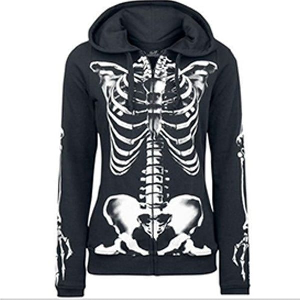 Women Skull Hooded Plus Size Sweatshirt  Hoodies Winter Coat Jacket Outwear Tops