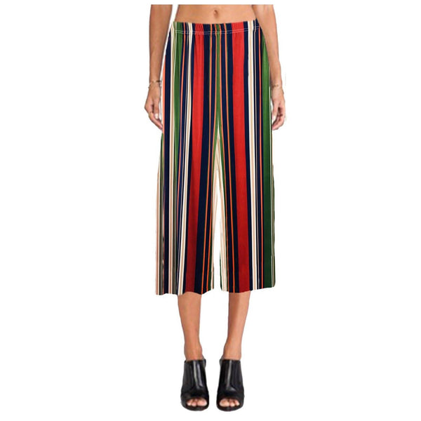 Women Elasticated Printed Wide Leg Culottes Stripe Shorts