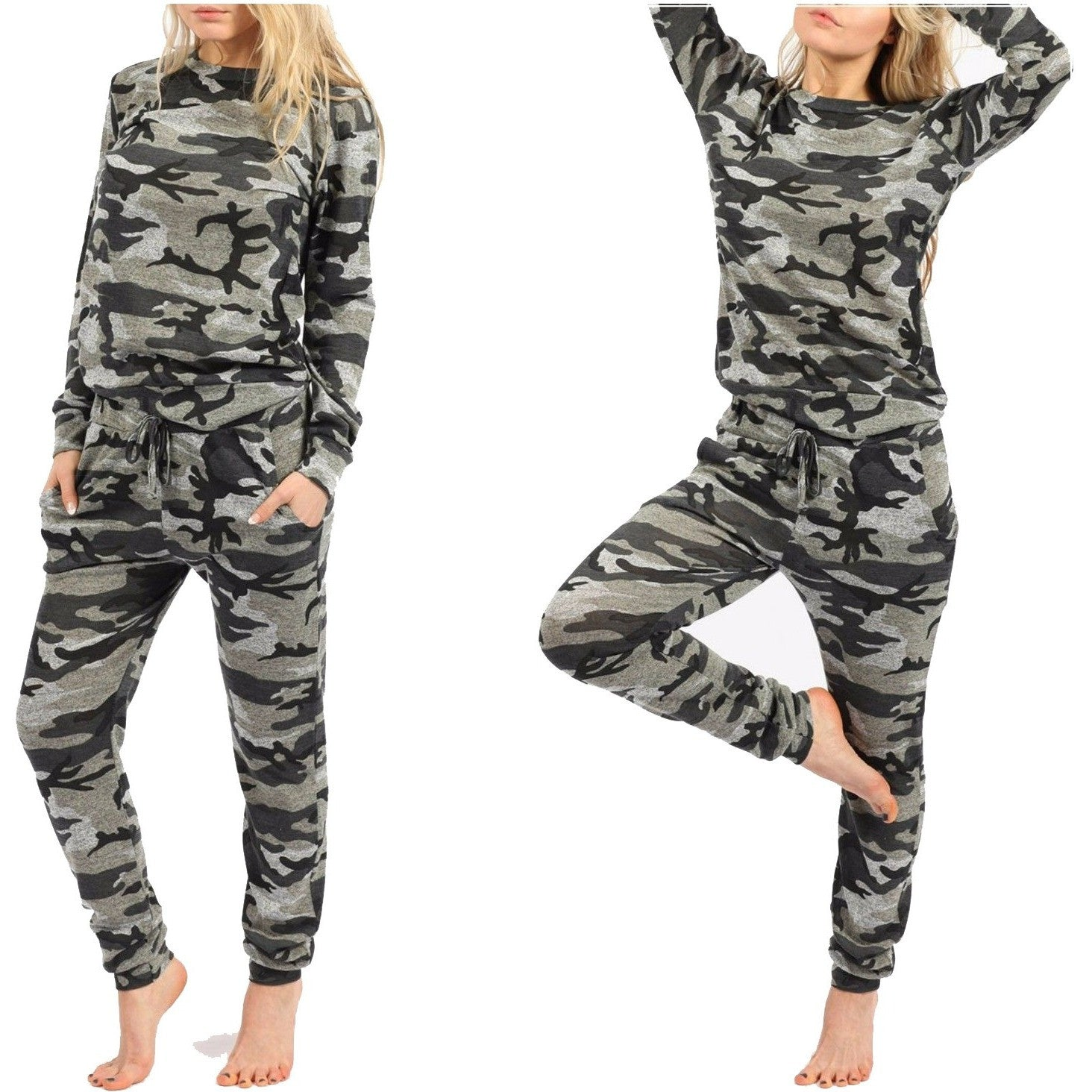 fe2f666bee Women Camouflage Print 2 Piece Tracksuit