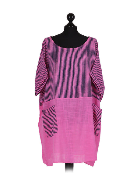 Women  Italian  Tunic stripe Top Plus size dress