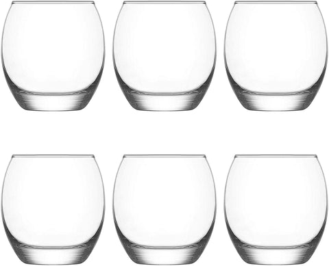Tumbler Glasses 405ml, 6 Piece Set, Tumbler Glass/Drinking Water/Whisky/Juice Glasses Everyday Glassware Set. Rolled Rims and Reinforced/Toughened Base