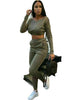 Women Lounge Wear, V-Neck, Long Sleeve, Tracksuit Set, Ladies Tracksuits Crop Suit