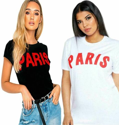 Women Paris Slogan Short Sleeve Top