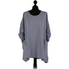 Women Italian Tunic Diamante Pockets Cotton Top