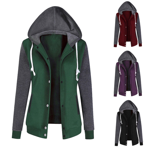 Women Sweatshirt Zip Jacket Coat Hoodie Jumper Plain Fleece Hooded Hoody Coats L
