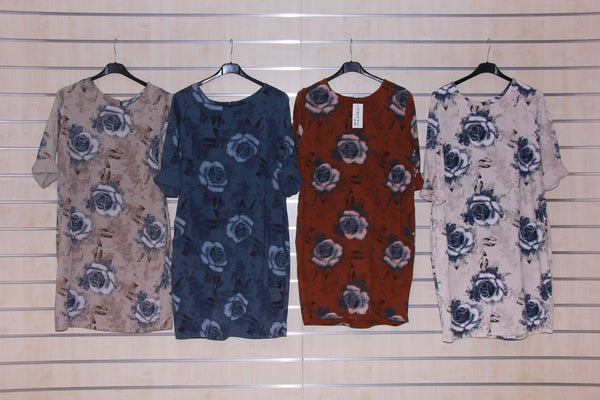 Womens Tunic Floral Print Cotton Top