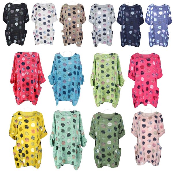 Women Italian Tunic Spotty Polka Dot Dress