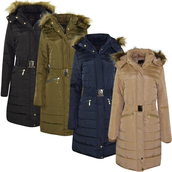 Women Fur Padded Long Down Jacket Hooded