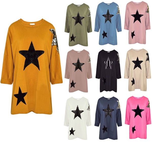 Women Italian Tunic Sequin Star Top