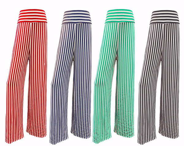 Womens Wide Striped Palazzo Baggy Trouser