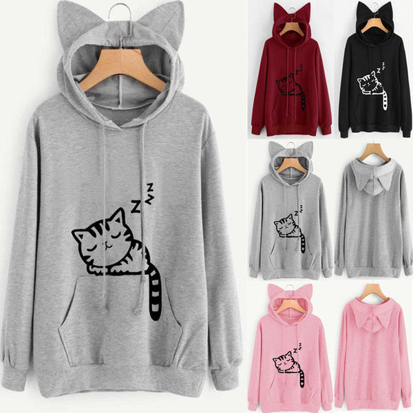 Womens Cat Ear Hoodie Sweatshirt Lady Hooded Sweater Coat Jumper Pullover Tops