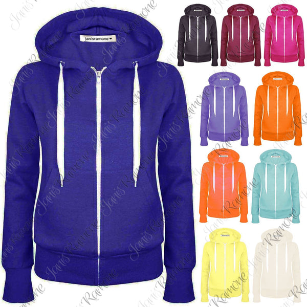 Womens Plain Fleece Zip Up Hooded Jumper Warm Sweatshirt