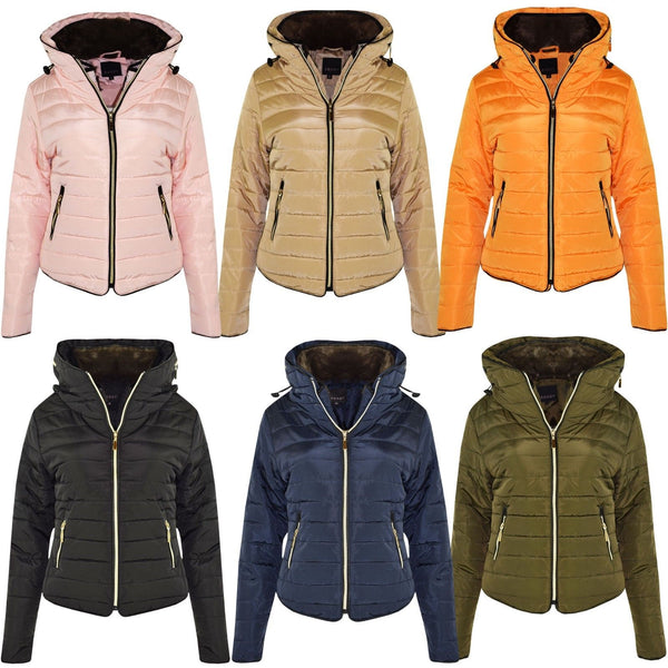 Women Puffer Bubble Quilted Warm Thick Coat Ladies Padded Jacket with Fur Collar