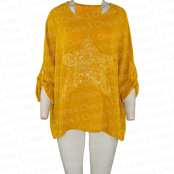 Women's Italian Sequin Star Mustard Top