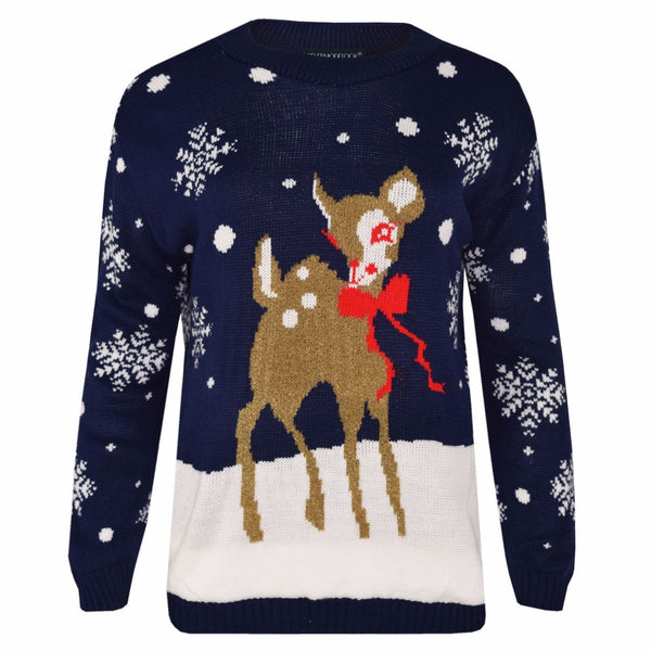 Womens Christmax Novelty Reindeer Xmas Jumper