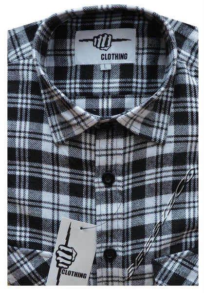 Mens Shirts Check Work Flannel Brushed Cotton Long Sleeve Shirt