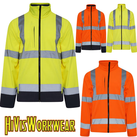 Hi Vis Softshell Waterproof Jacket S-5XL