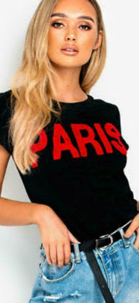 Women Ladies Paris Vogue Slogan Print Round Neck Short Sleeve Tee Top T-Shirt