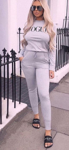 Women Girl's VOGUE Print Top Legging Bottom Jogger Tracksuit Lounge wear Suit