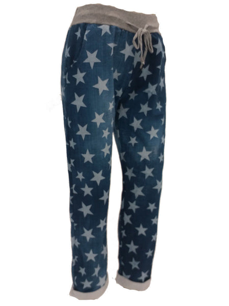 Women Italian Star Print Elastic Waist Cotton Trouser