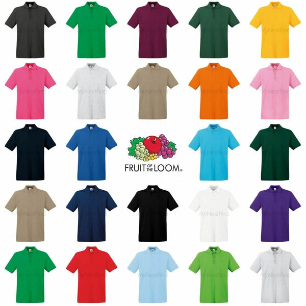 Fruit of the Loom Plain Cotton Men's Polo T-Shirt