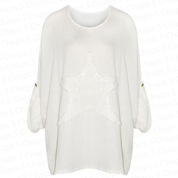 Women's Italian Sequin Star White Top