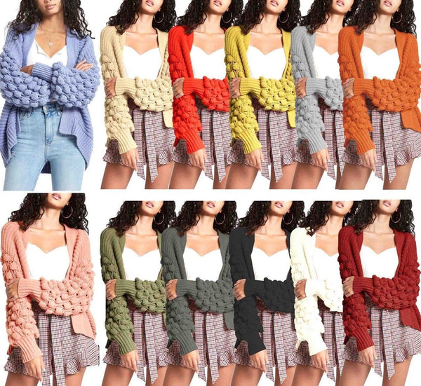 Women Winter Knit Cardigan Bobble Knit Sweaters