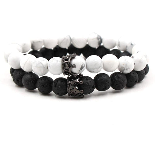 Classic Crown Distance Bracelets - Black