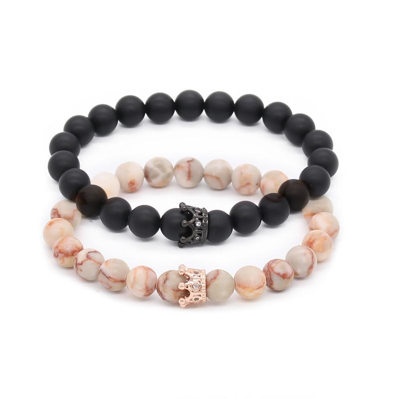 Classic Crown Distance Bracelets - Coral
