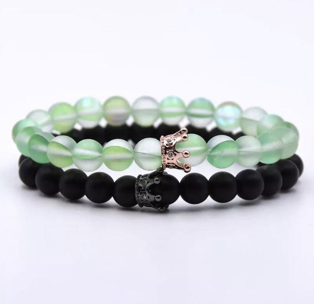 Classic Crown Distance Bracelets - Green