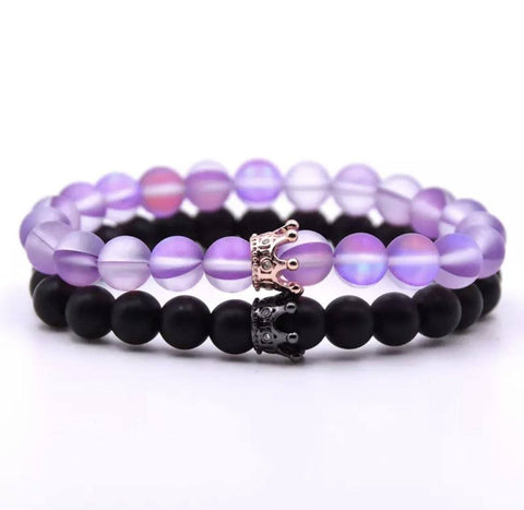 Classic Crown Distance Bracelets - Purple