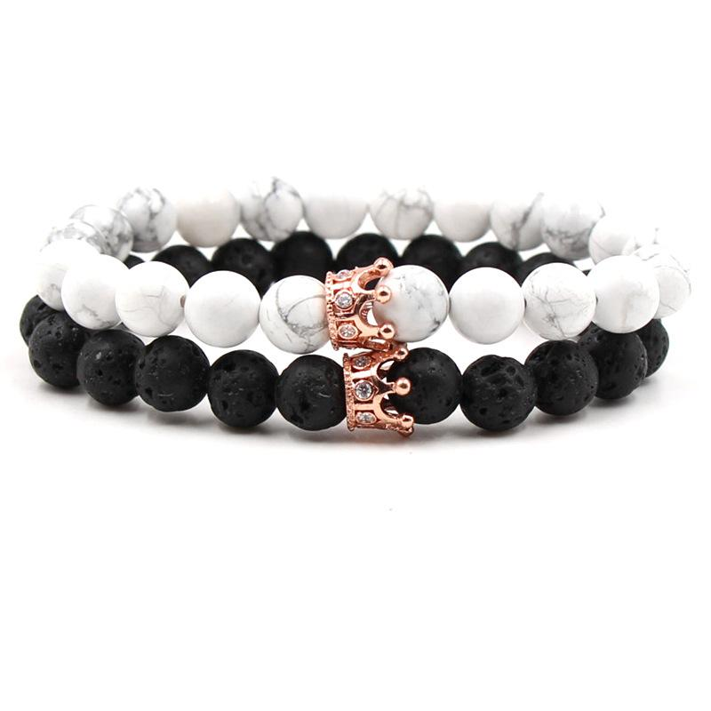 Classic Crown Distance Bracelets - Rose