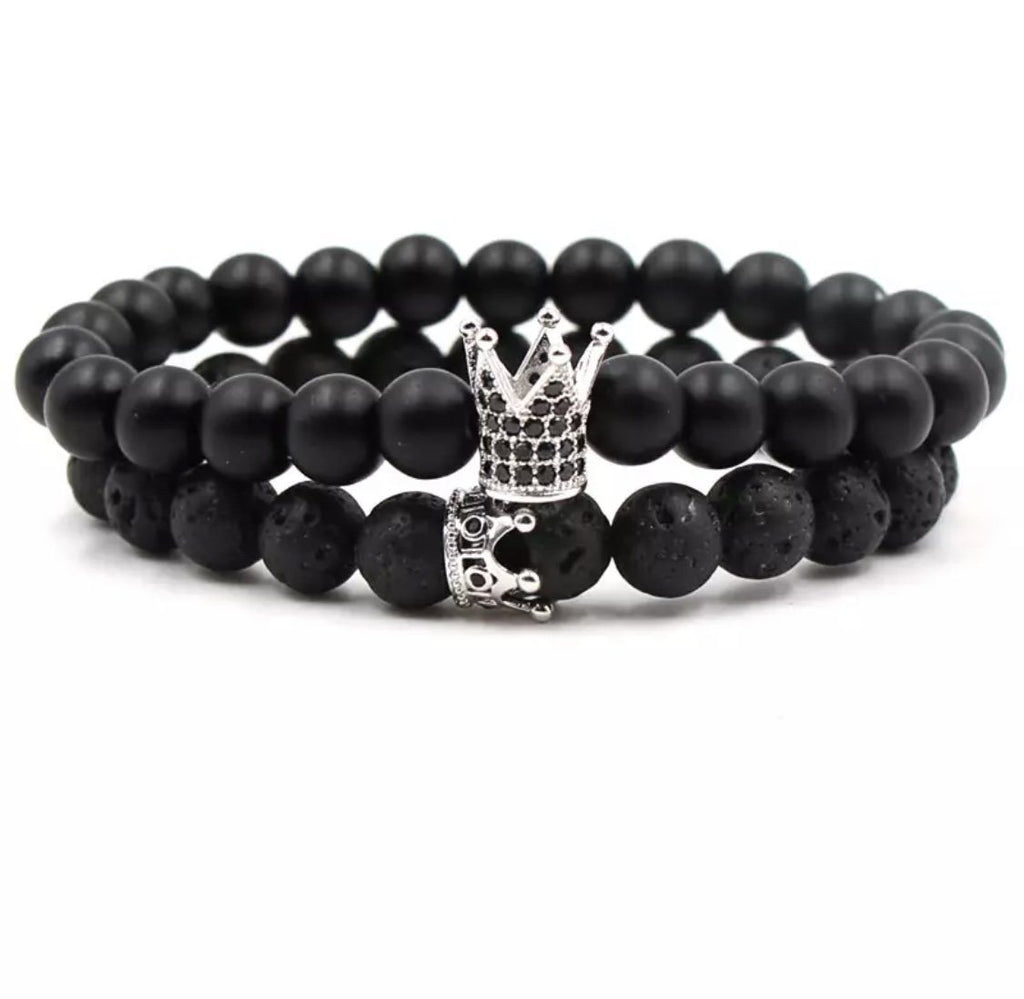 Crown Distance Bracelets - Ninja Silver
