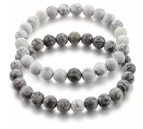 Grey Distance Bracelets - White