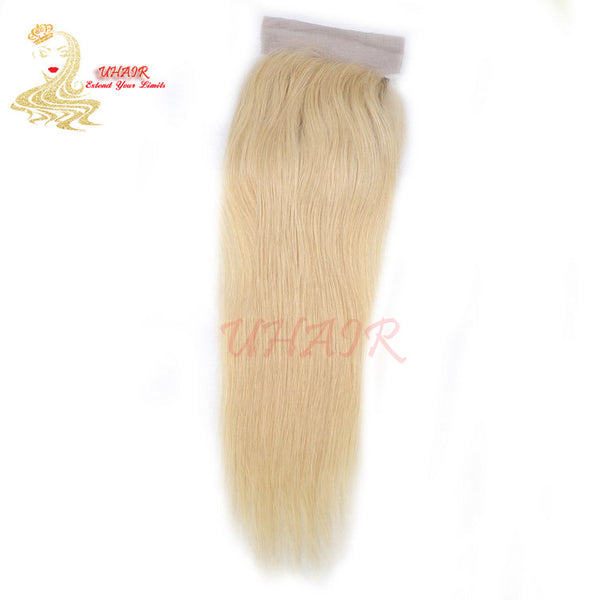 Lace top closure 4x4 613# Golden/Blonde Straight Hair