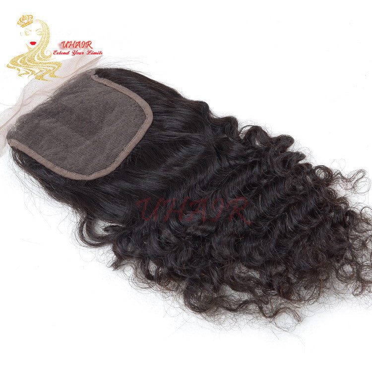 9A Brazilian lace top closure 4x4 Curly Hair