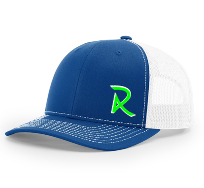 White/Lime Green Fitted Hat