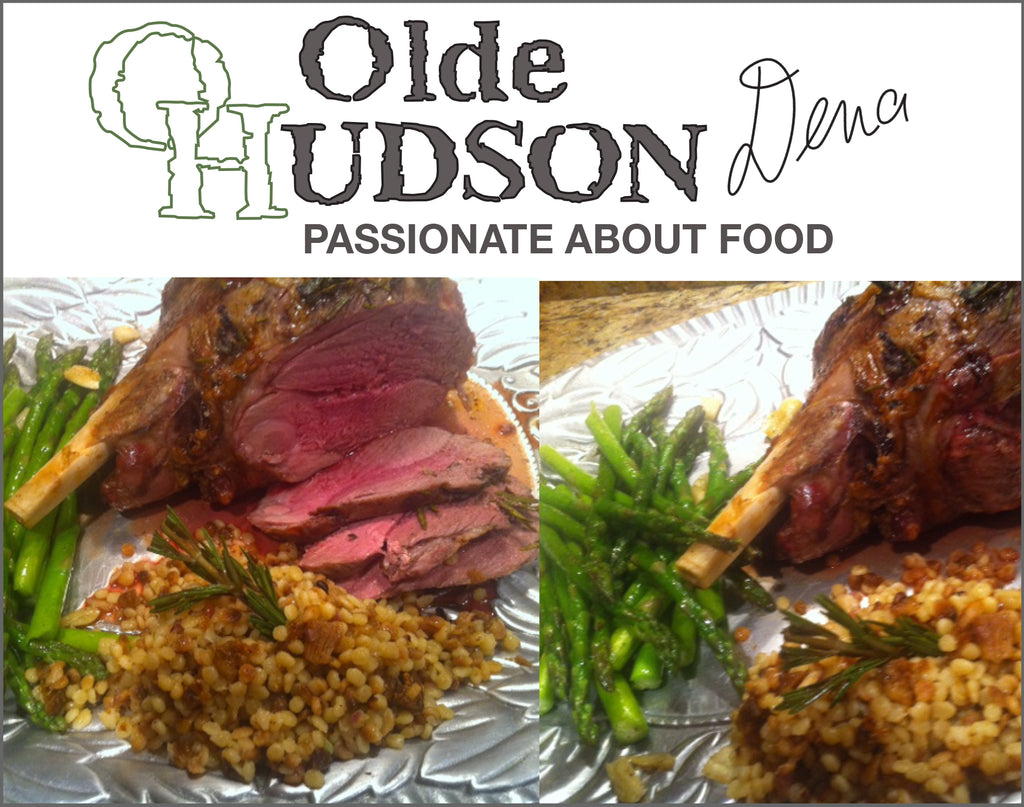 ROAST LEG OF LAMB with CARAMELIZED ONION COUSCOUS and ASPARAGUS