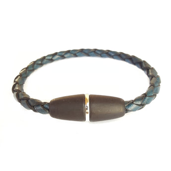 Blue Braided Leather Magnet Clasp - 7.5