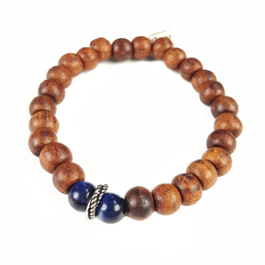6mm Wood with Lapis Accents - 7.25