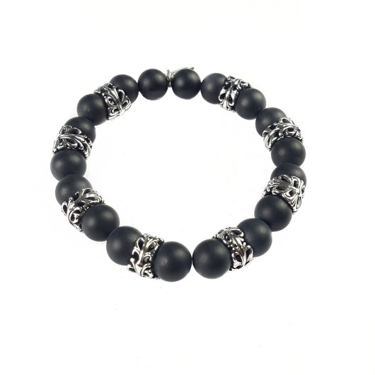 10mm Matte Black Onyx Sterling Silver Accents - 7.5