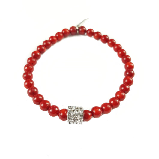 6mm Red Coral Silver Accent - 7