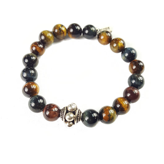 10mm Mixed Tiger's Eye Sterling Silver Accent - 7.5